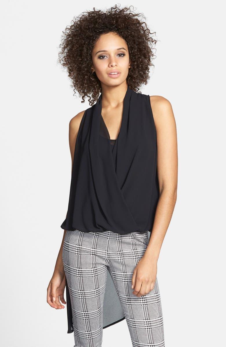 JUNE & HUDSON Asymmetrical Drape Front High/Low Top, Main, color, BLACK