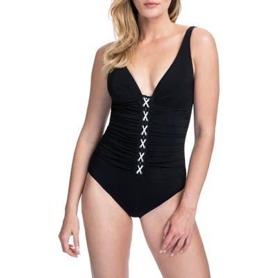 Profile By Gottex D-Cup Corset Lace One-Piece Swimsuit, Black