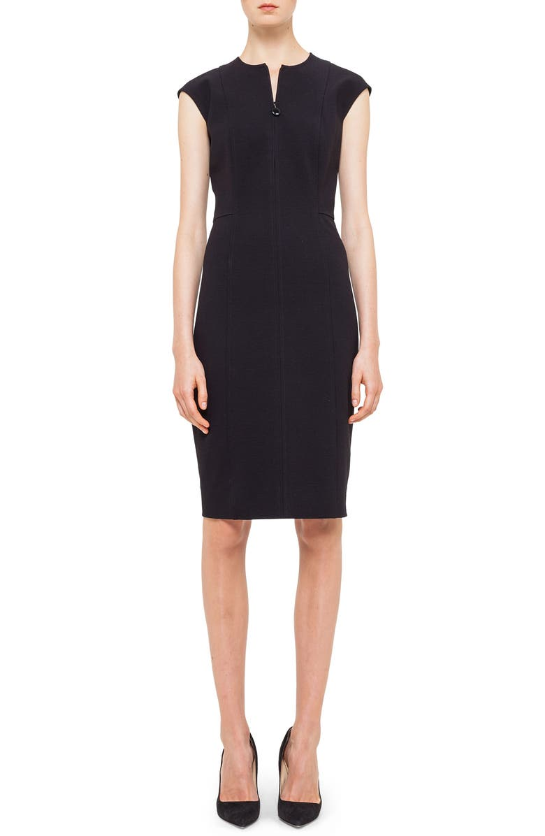 AKRIS PUNTO Cap Sleeve Sheath Dress, Main, color, BLACK