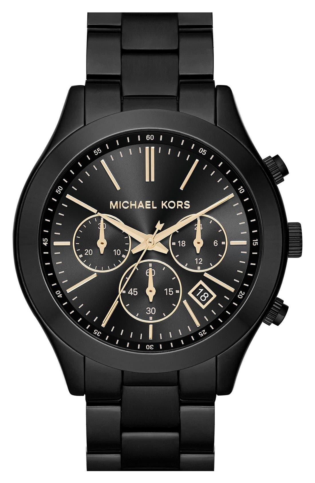 ,                             Michael Kors 'Slim Runway' Chronograph Bracelet Watch, 42mm,                             Main thumbnail 1, color,                             001