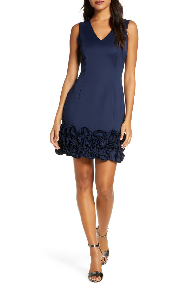 DONNA RICCO Cupcake Hem Scuba Sheath Dress, Main, color, NAVY