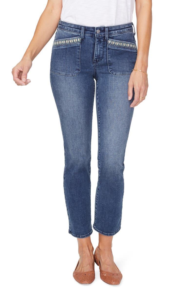 NYDJ Sheri High Waist Embroidered Pocket Ankle Slim Jeans, Main, color, CLEAN LAZARO