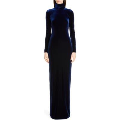 Badgley Mischka Long Sleeve Velvet Gown, Blue