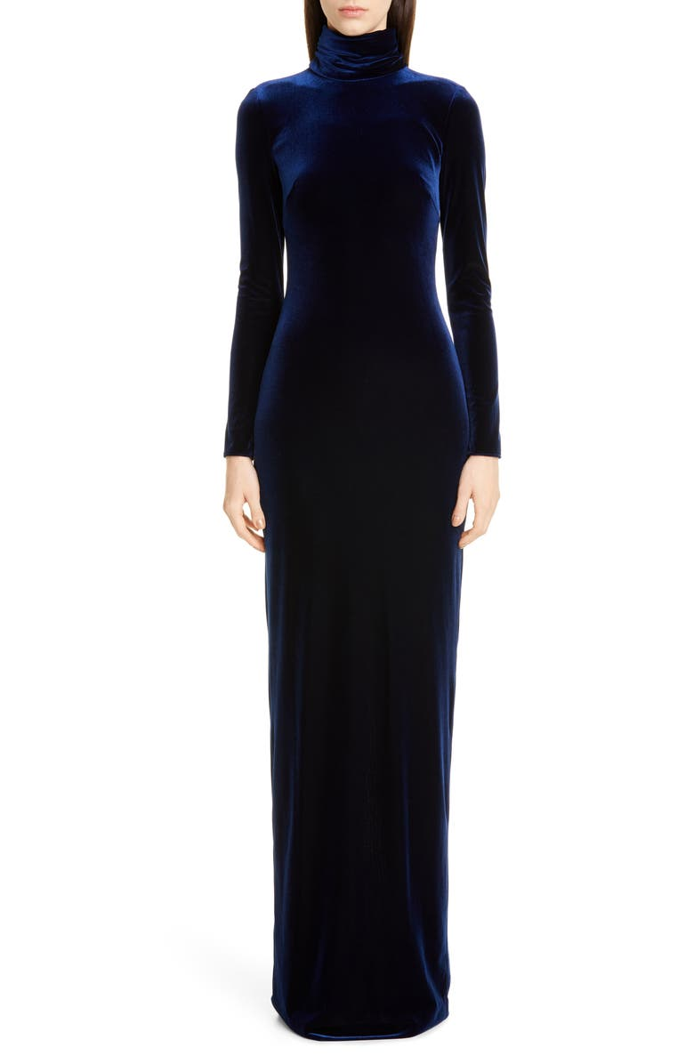 BADGLEY MISCHKA COLLECTION Badgley Mischka Long Sleeve Velvet Gown, Main, color, 400