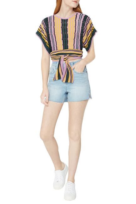 Image of BCBGeneration Crochet Wrap Stripe Top
