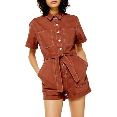 Topshop Button Down Denim Romper, US (fits like 0-2) - Metallic
