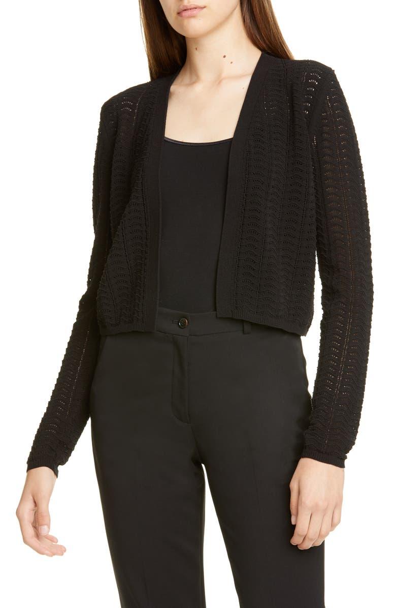 THEORY Crop Crochet Cardigan, Main, color, BLACK