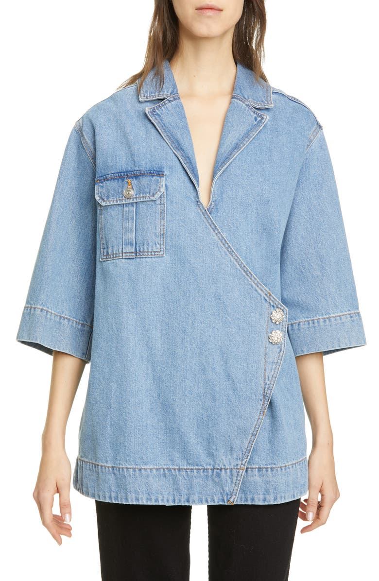 GANNI Wrap Front Oversized Organic Cotton Denim Shirt, Main, color, 400