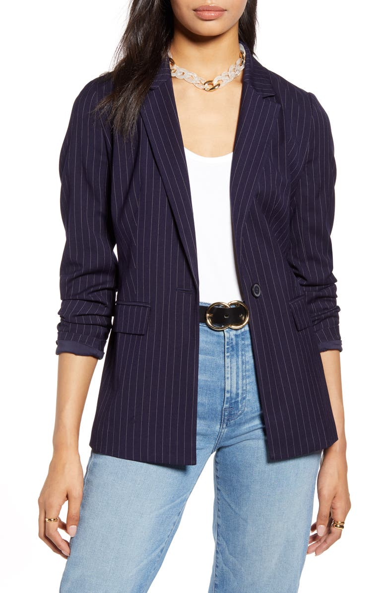 HALOGEN<SUP>®</SUP> Pinstripe Blazer, Main, color, NAVY BROOKLYN STRIPE