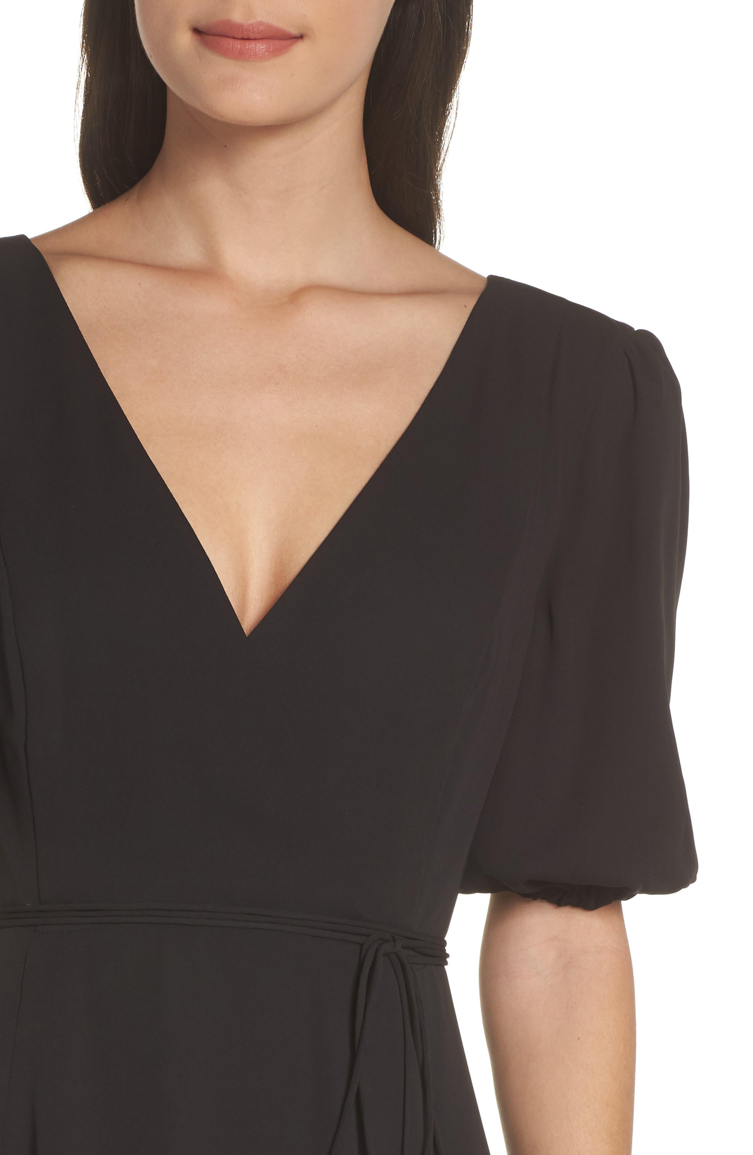,                             V-Neck Georgette Wrap Gown,                             Alternate thumbnail 5, color,                             BLACK