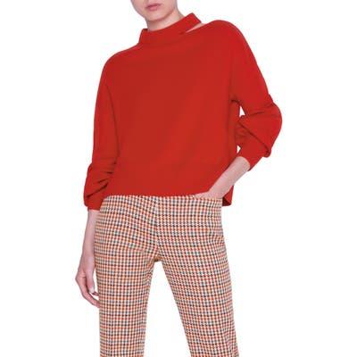 Akris Punto Luna Cutout Wool & Cashmere Sweater, Red