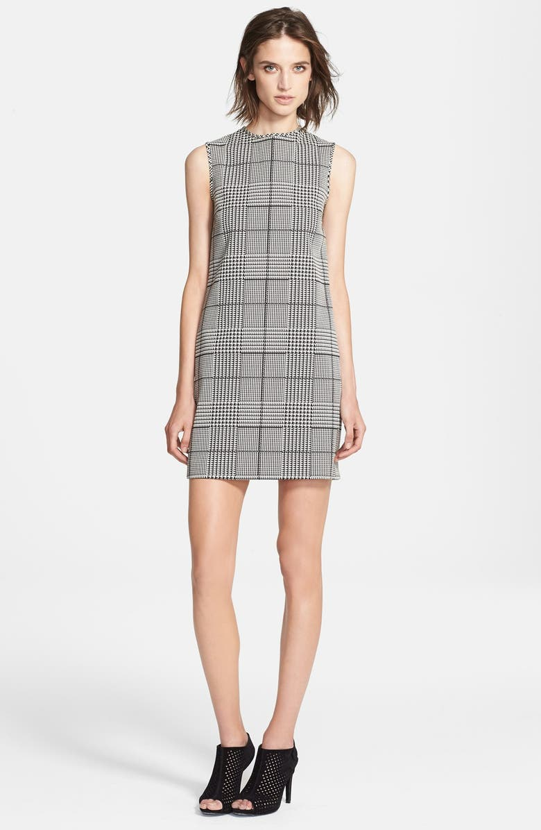 THEORY 'Adraya' Houndstooth Cotton Blend Shift Dress, Main, color, 020
