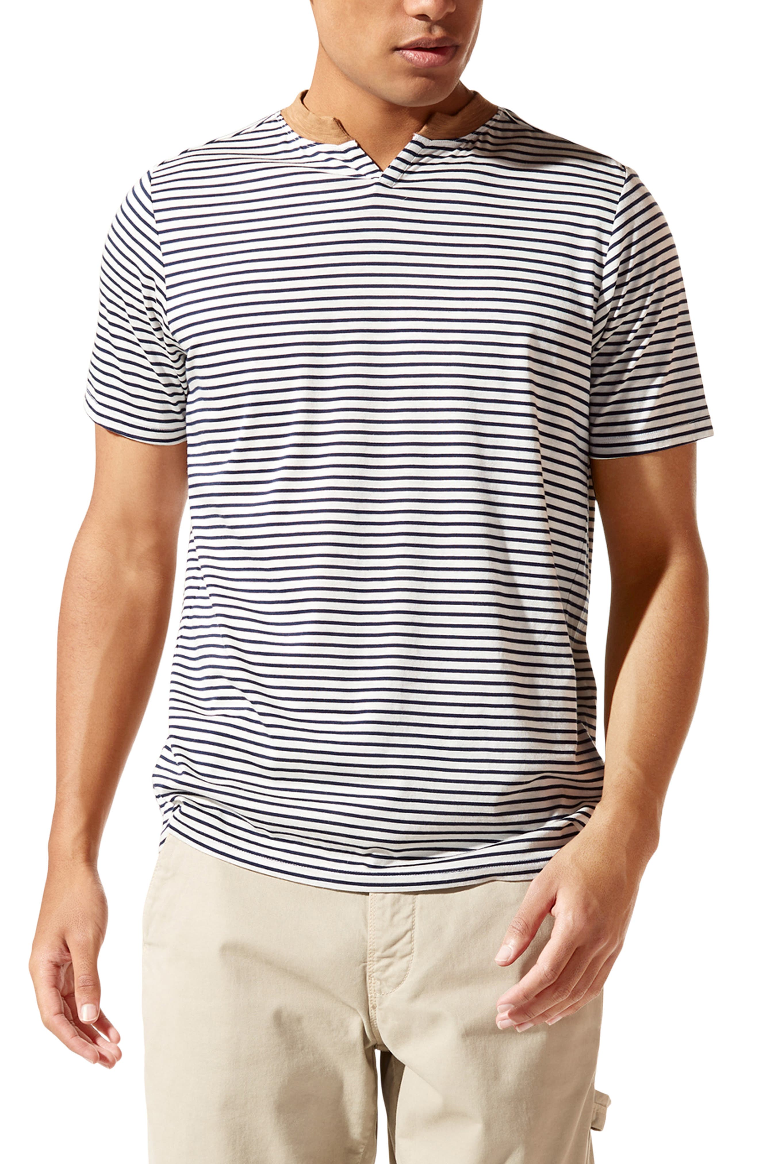 Slim Fit Stripe Razor V-Notch T-Shirt