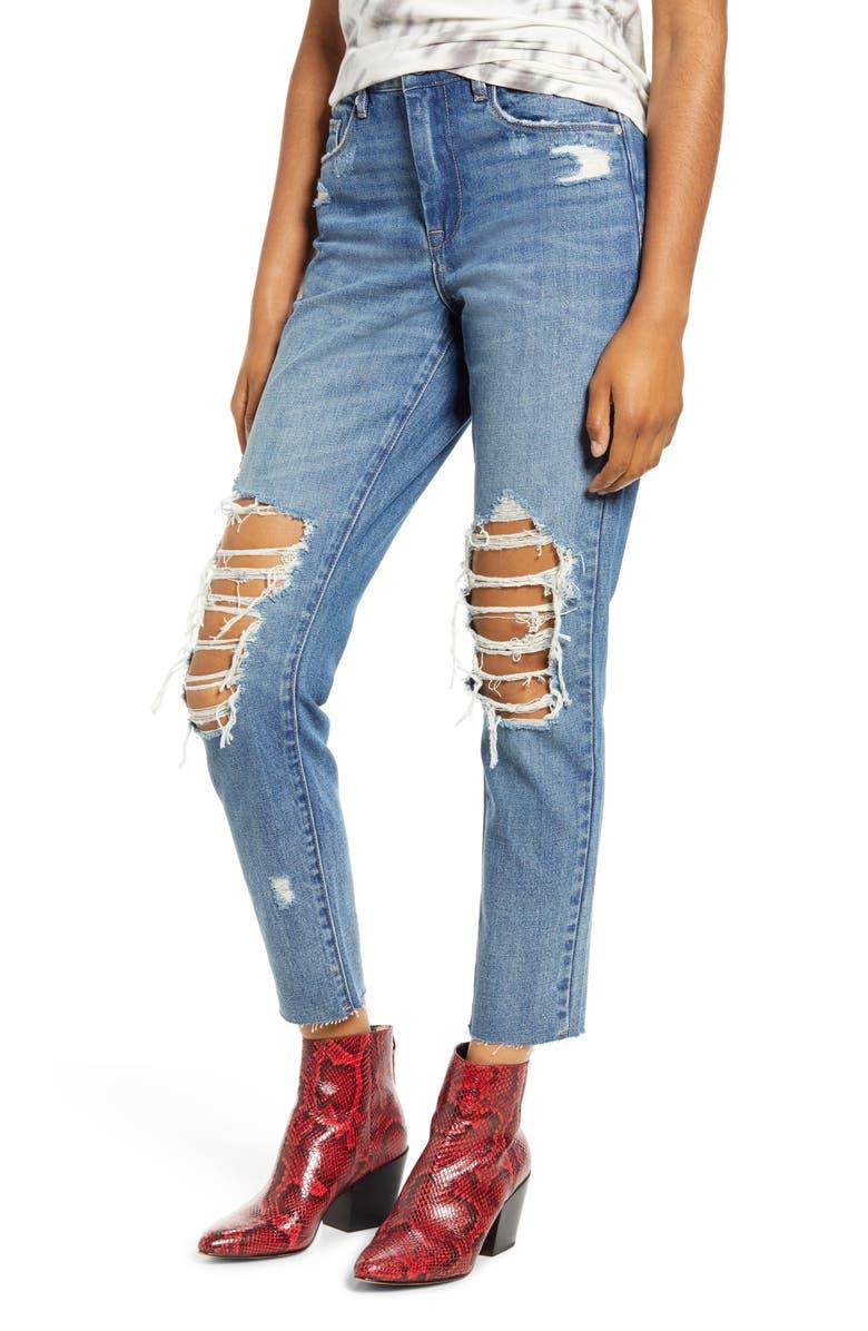 BLANKNYC Jet Setter Ripped Straight Leg Jeans, Main, color, JET SETTER