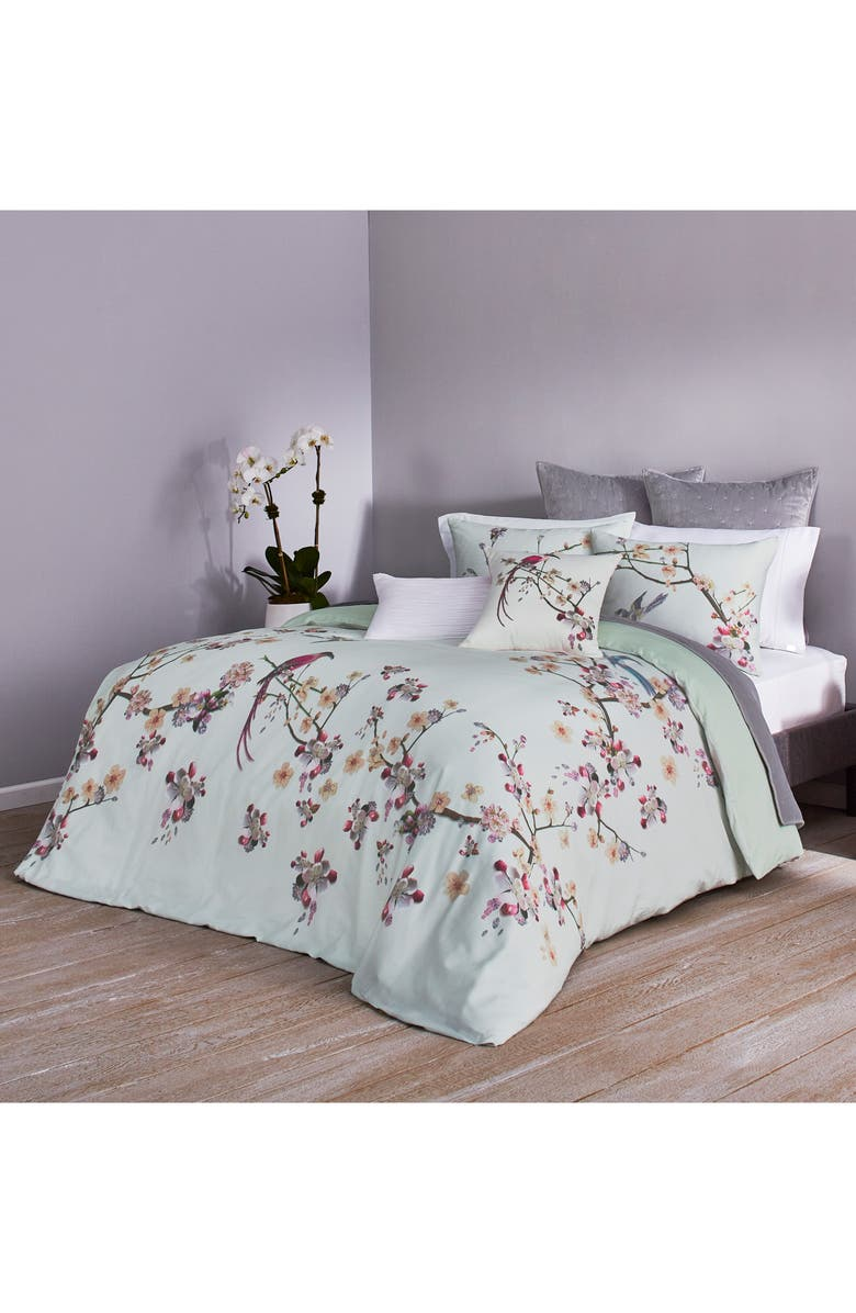 TED BAKER LONDON Cherry Blossom Print Duvet Cover & Sham Set, Main, color, MINT