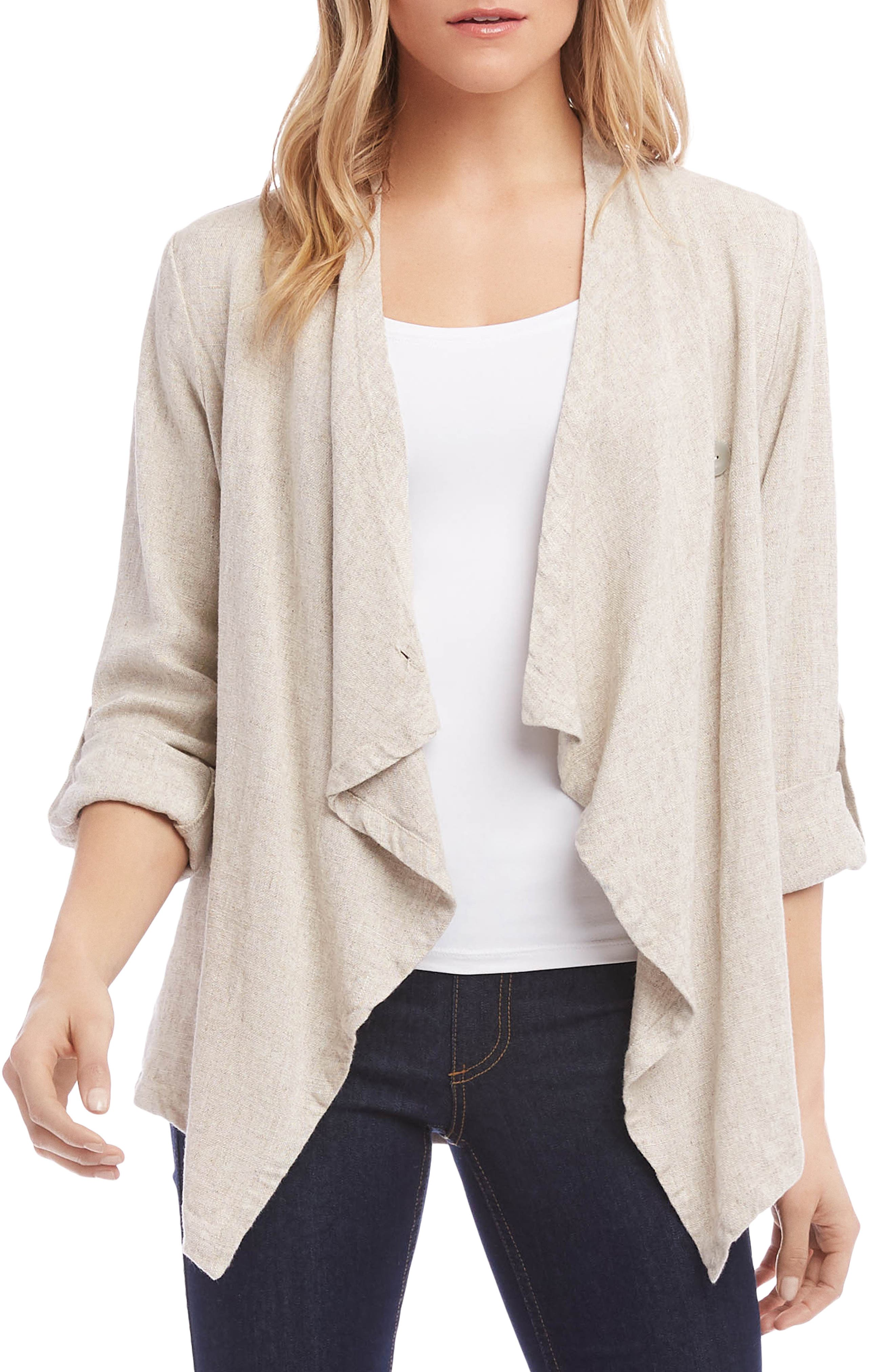 Drape Front Jacket, Main, color, NATURAL