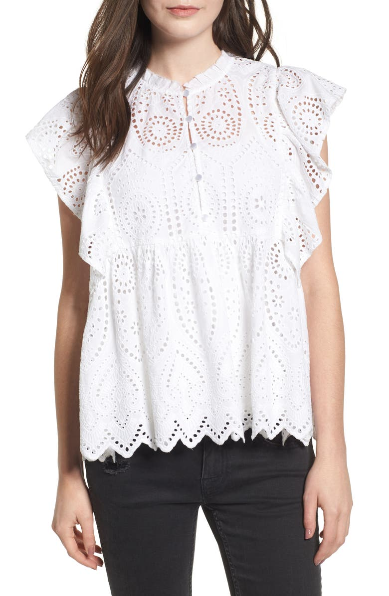 BP. Ruffle Cotton Eyelet Top, Main, color, 100