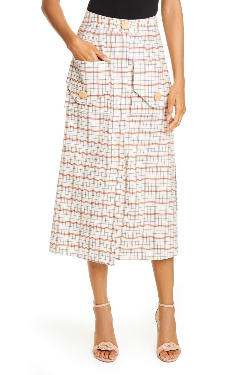 NICHOLAS Plaid Cargo Midi Skirt, Main, color, 900