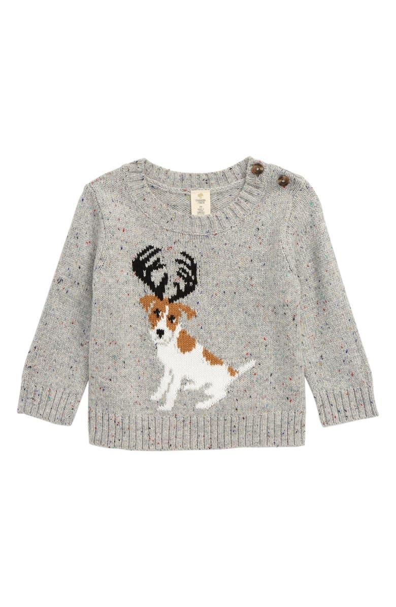 TUCKER + TATE Intarsia Sweater, Main, color, GREY ASH HEATHER REINDOG