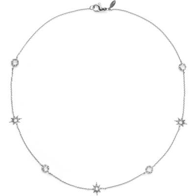 Anzie Starburst White Topaz Charm Necklace