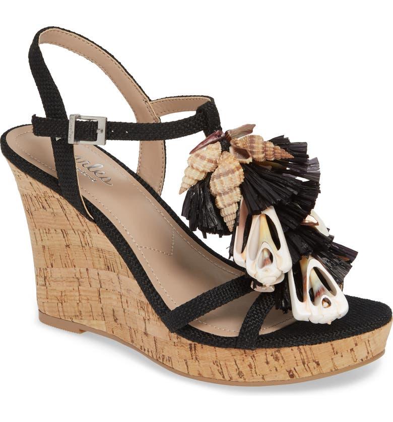 CHARLES BY CHARLES DAVID La Jolla Platform Wedge Sandal, Main, color, BLACK FABRIC
