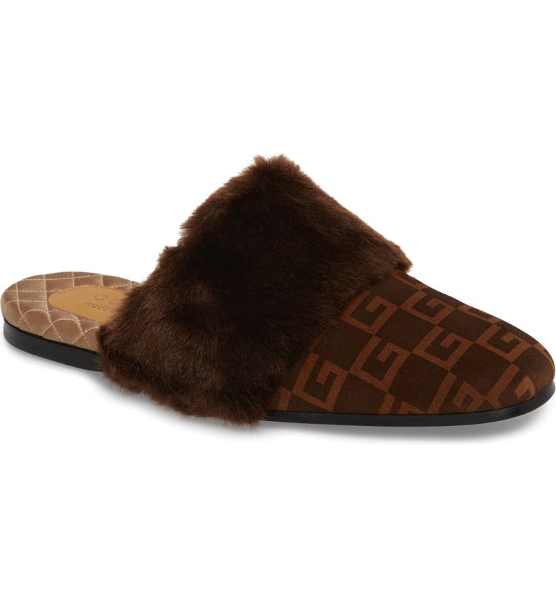 GUCCI Square-G Faux Fur Slipper, Main, color, 201