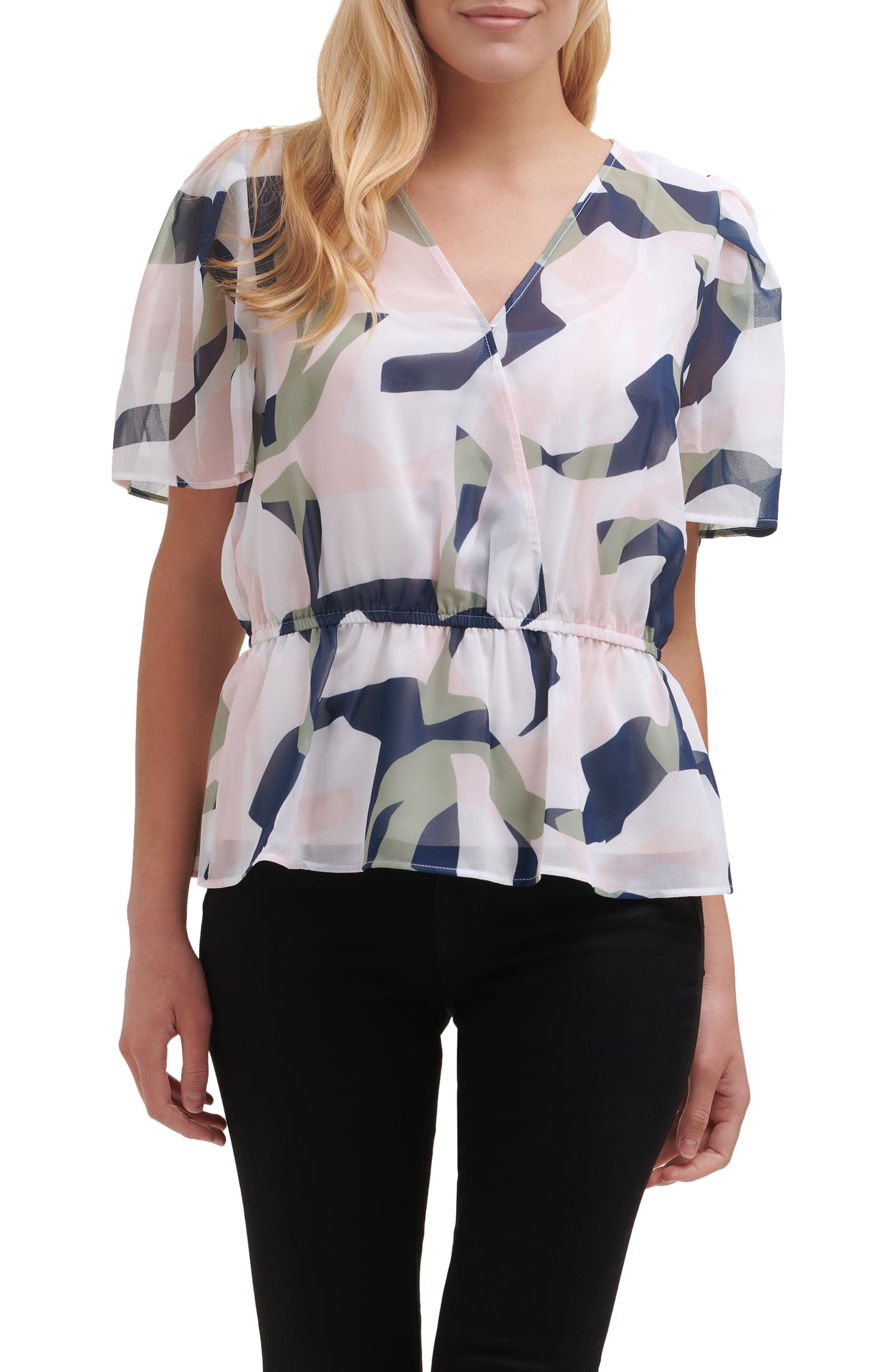 Abstract Print Faux Wrap Blouse