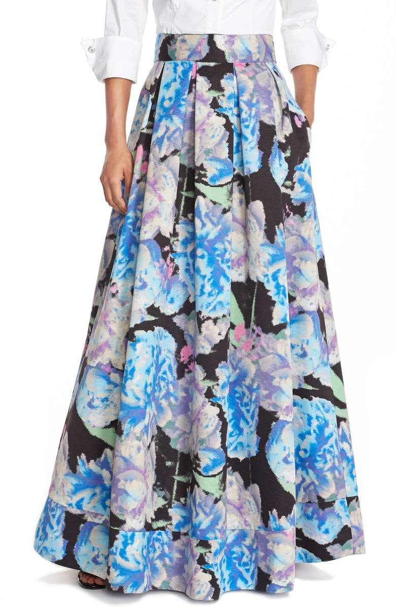 ELIZA J Floral Print Faille Ball Skirt, Main, color, 421