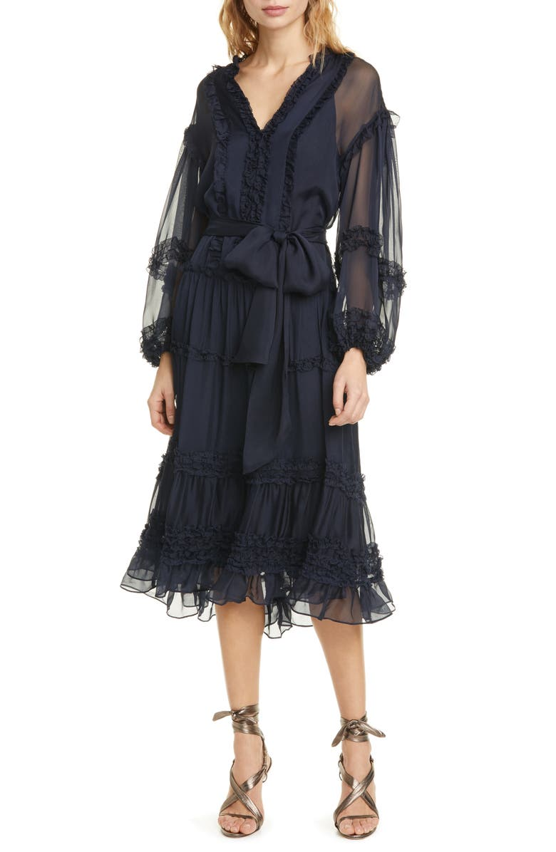 ULLA JOHNSON Althea Ruffle Long Sleeve Silk Habutai Dress, Main, color, MIDNIGHT