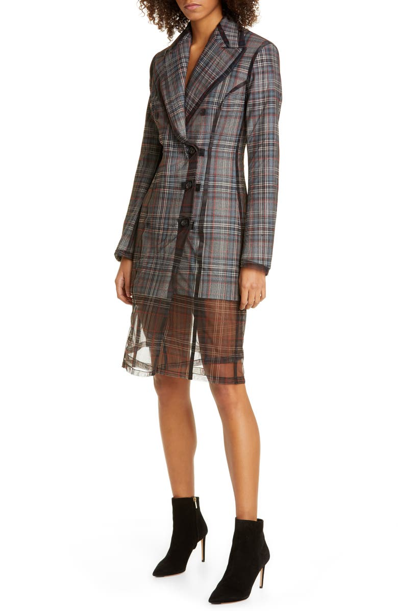 Y/PROJECT Plaid Convertible Tuxedo Dress, Main, color, 020