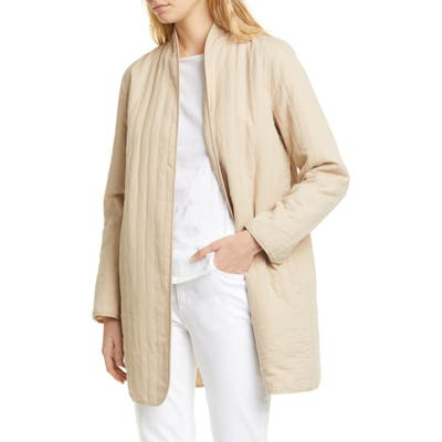 Eileen Fisher Quilted Linen Blend Long Jacket, Beige