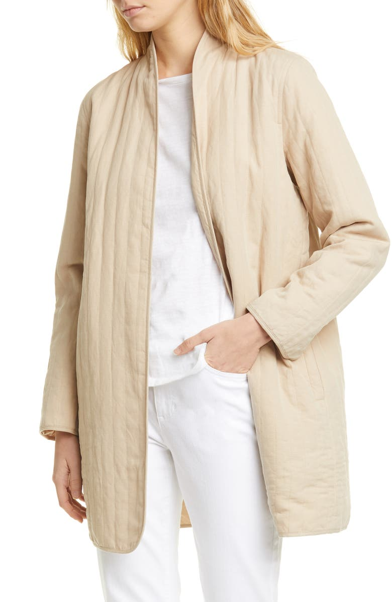 EILEEN FISHER Quilted Linen Blend Long Jacket, Main, color, KHAKI