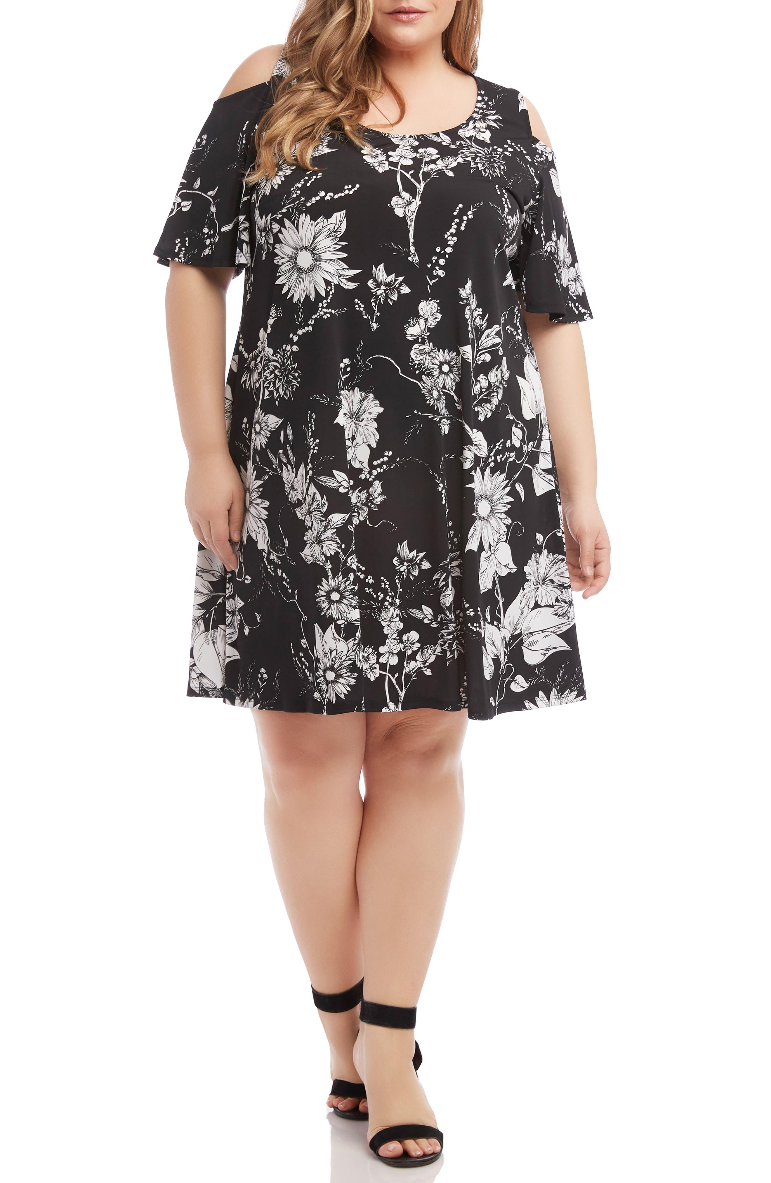 Plus Size Karen Kane Floral Cold Shoulder Swing Dress, Black