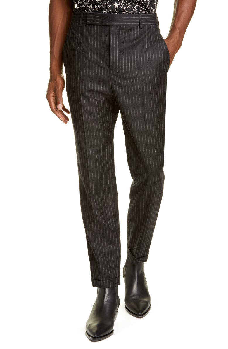 SAINT LAURENT Pinstripe Wool Trousers, Main, color, BLACK