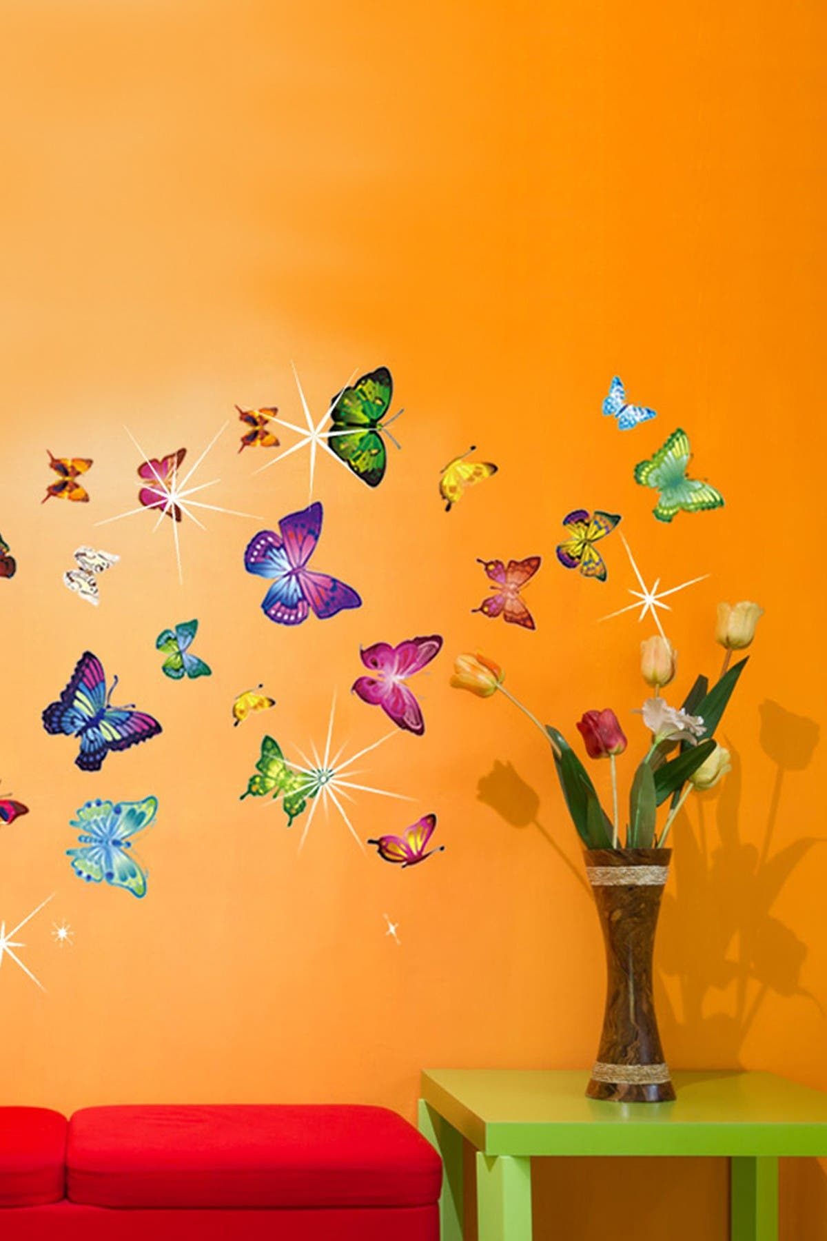 Image of WalPlus Multi Wall Sticker Decal Colorful Butterflies with Swarovski Crystal Embellishments