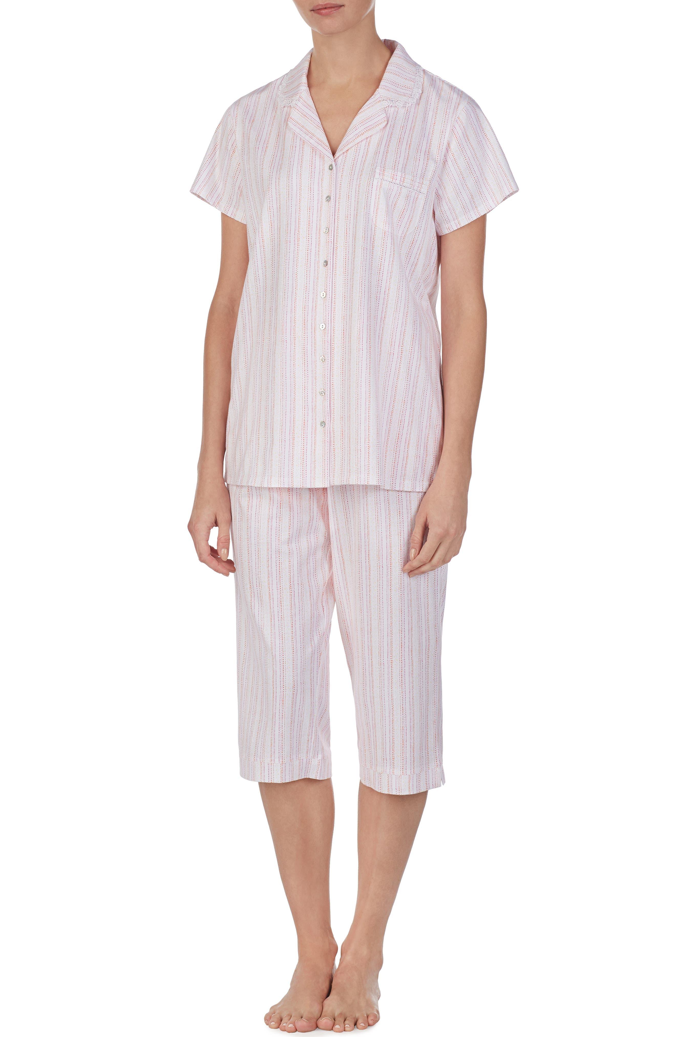 Eileen West Crop Pajamas, White