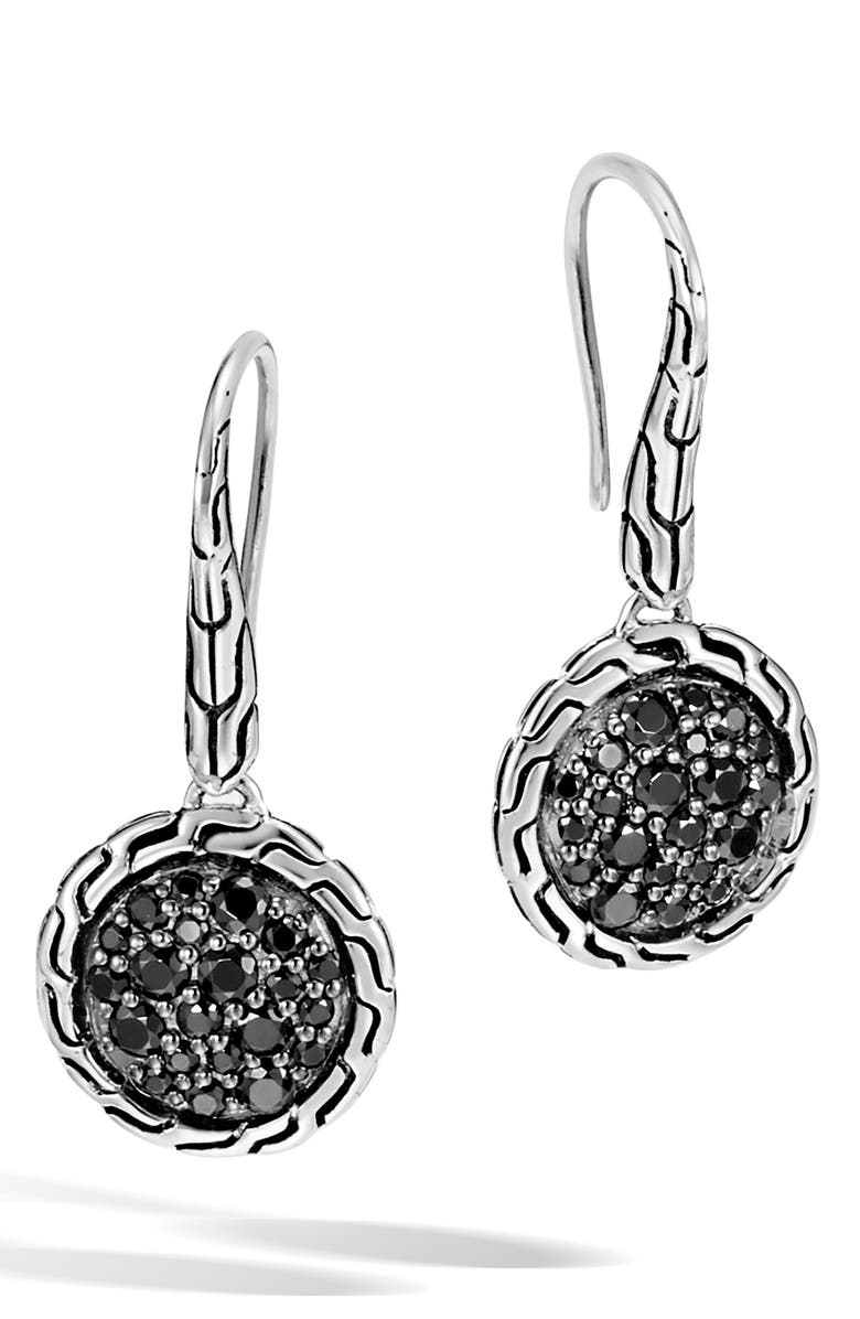 JOHN HARDY Pavé Drop Earrings, Main, color, SILVER/ BLACK SAPPHIRE