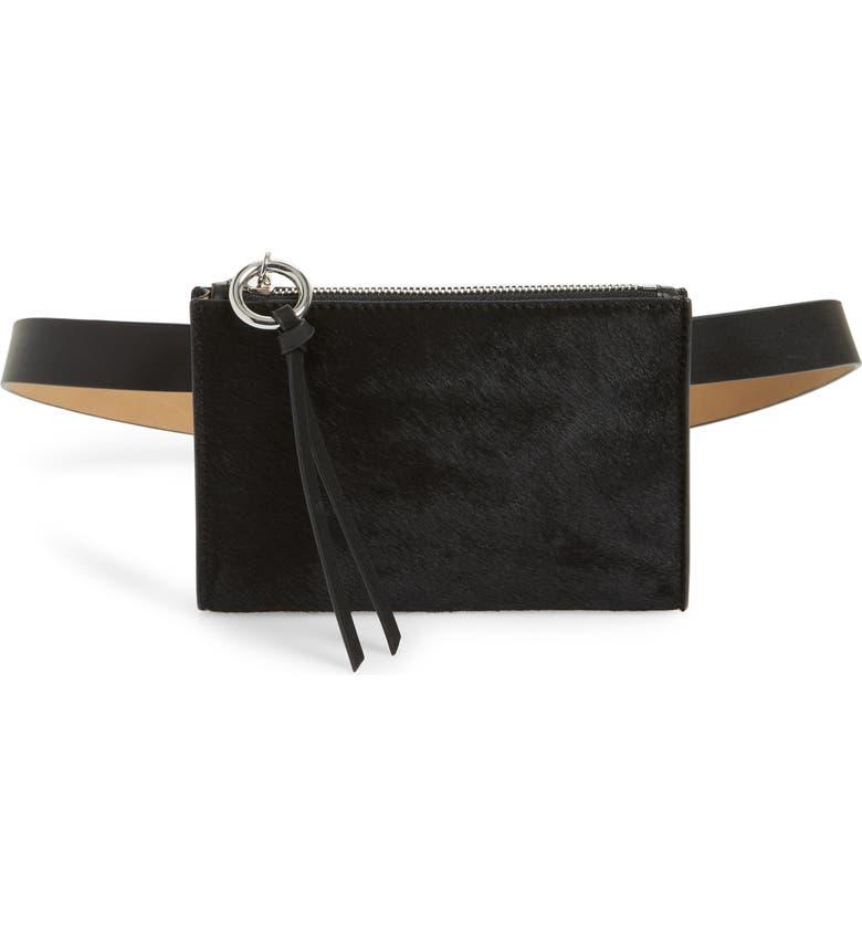 REBECCA MINKOFF Ava Genuine Calf Hair Belt Bag, Main, color, 001