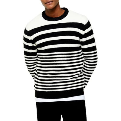 Topman Stripe Crewneck Sweater, Black
