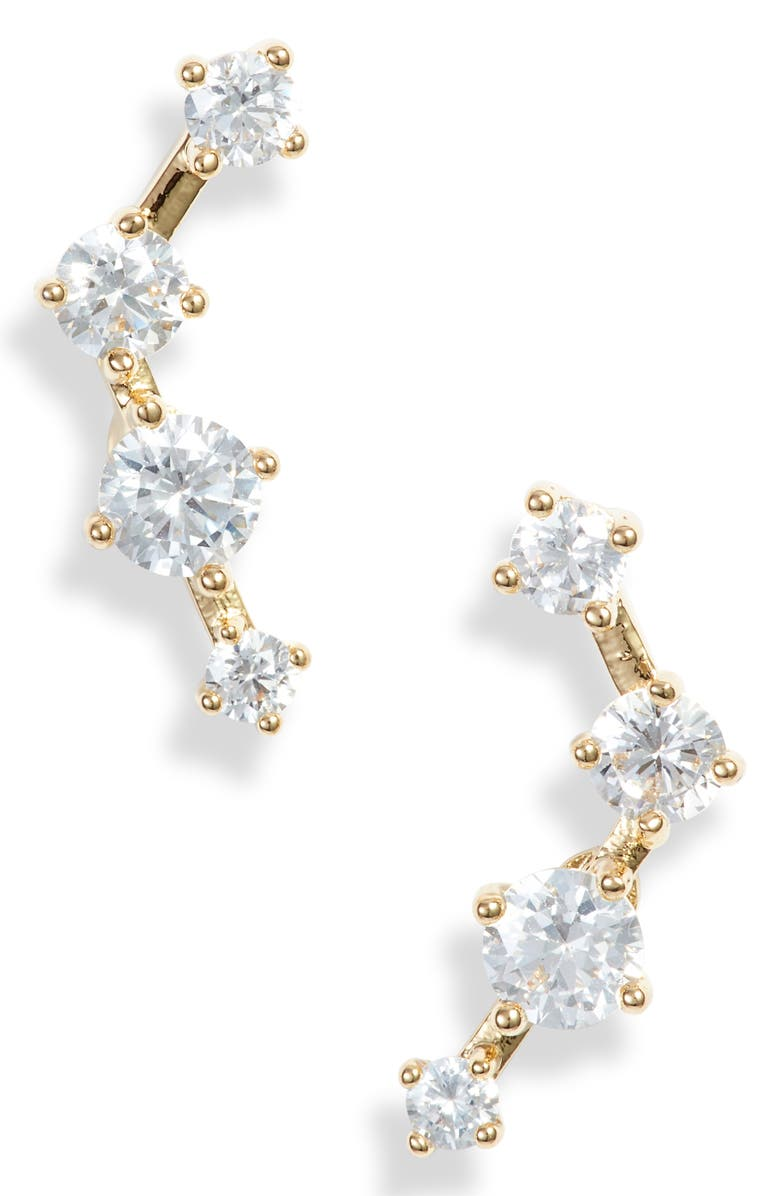 NORDSTROM Cubic Zirconia Ear Crawlers, Main, color, CLEAR- GOLD