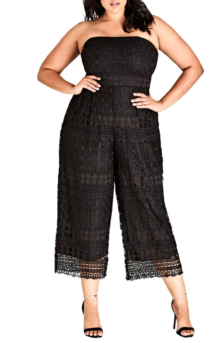 CITY CHIC Crochet Strapless Jumpsuit, Main, color, 001