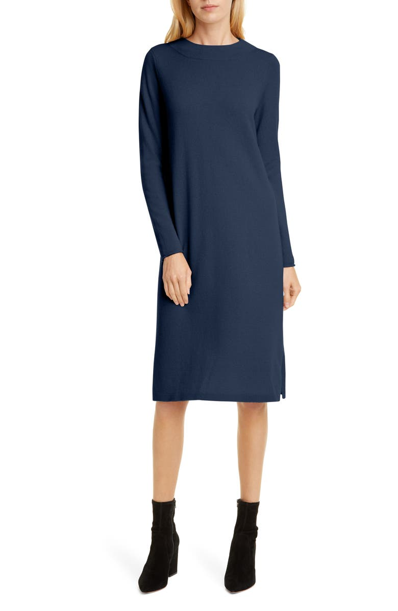 ALLUDE Cashmere Long Sleeve Sweater Dress, Main, color, DARK BLUE