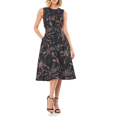 Kay Unger Brooke Back Cutout Fit & Flare Dress, Black