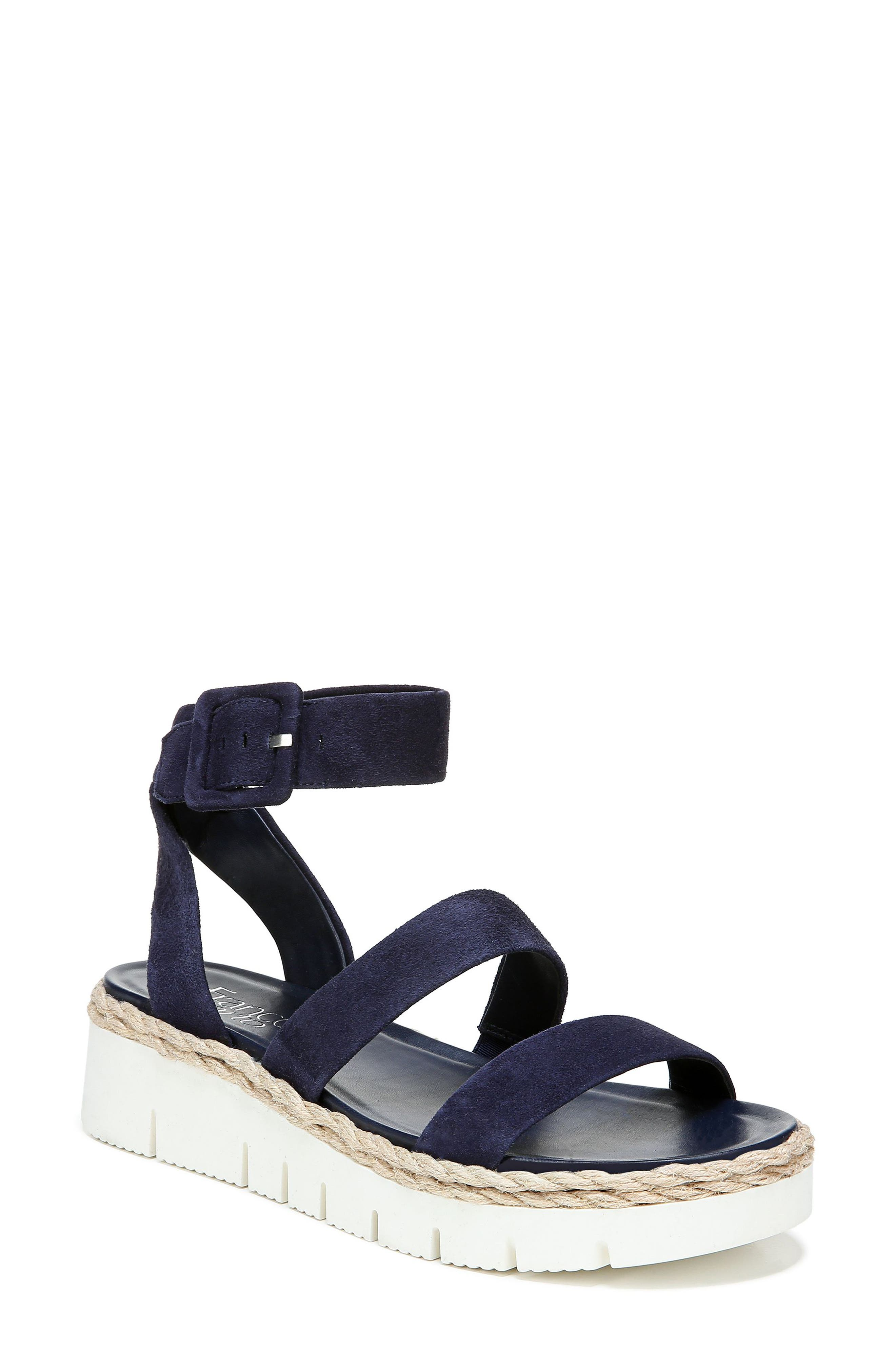 A sporty platform sole and espadrille-inspired detailing enhance the up-for-anything style of an ankle-strap sandal secured with a wrapped buckle. Style Name: Franco Sarto Jackson Ankle Strap Platform Sandal (Women). Style Number: 6080328. Available in stores.