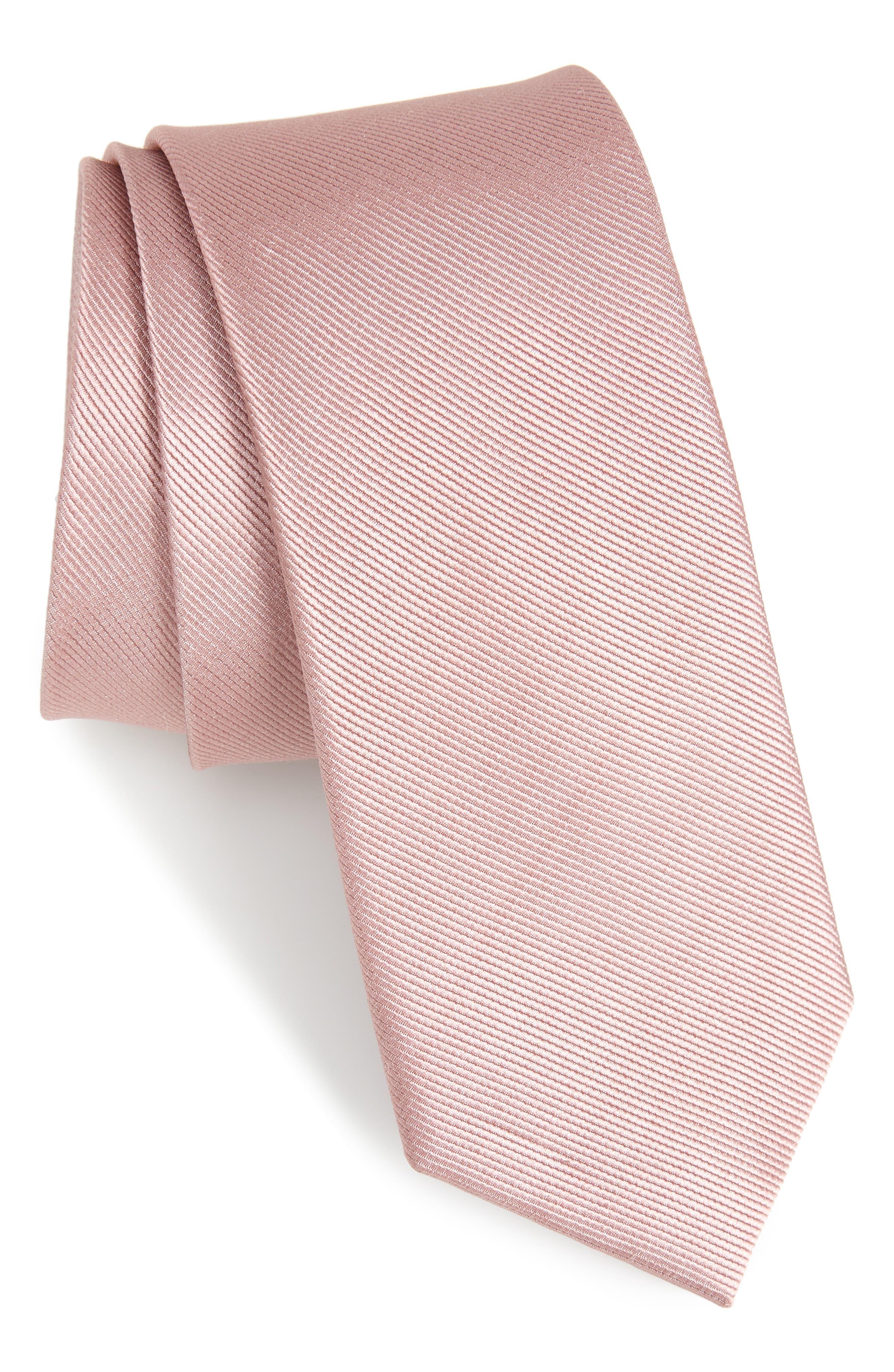 Solid Silk Tie, Main, color, MAUVE STONE