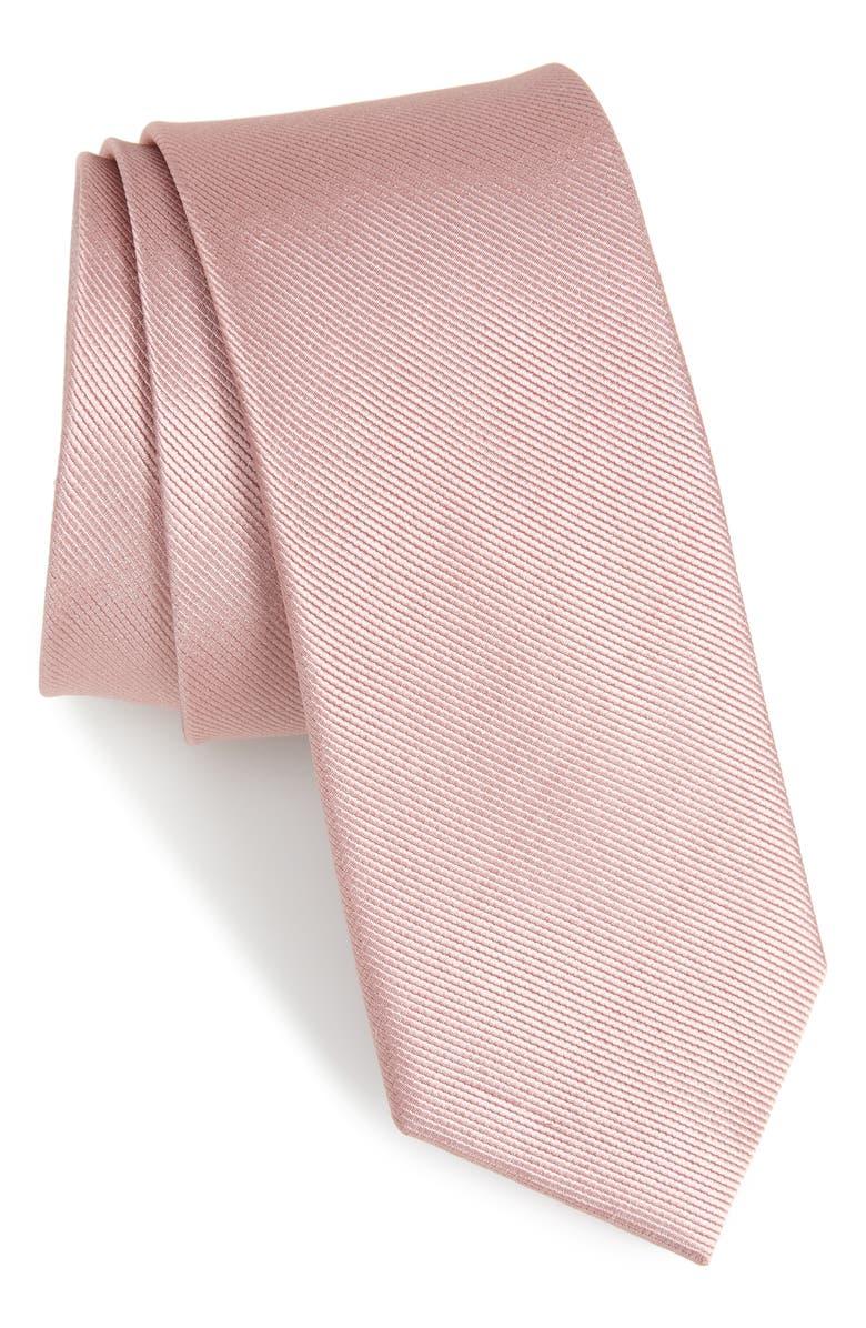 THE TIE BAR Solid Silk Tie, Main, color, MAUVE STONE
