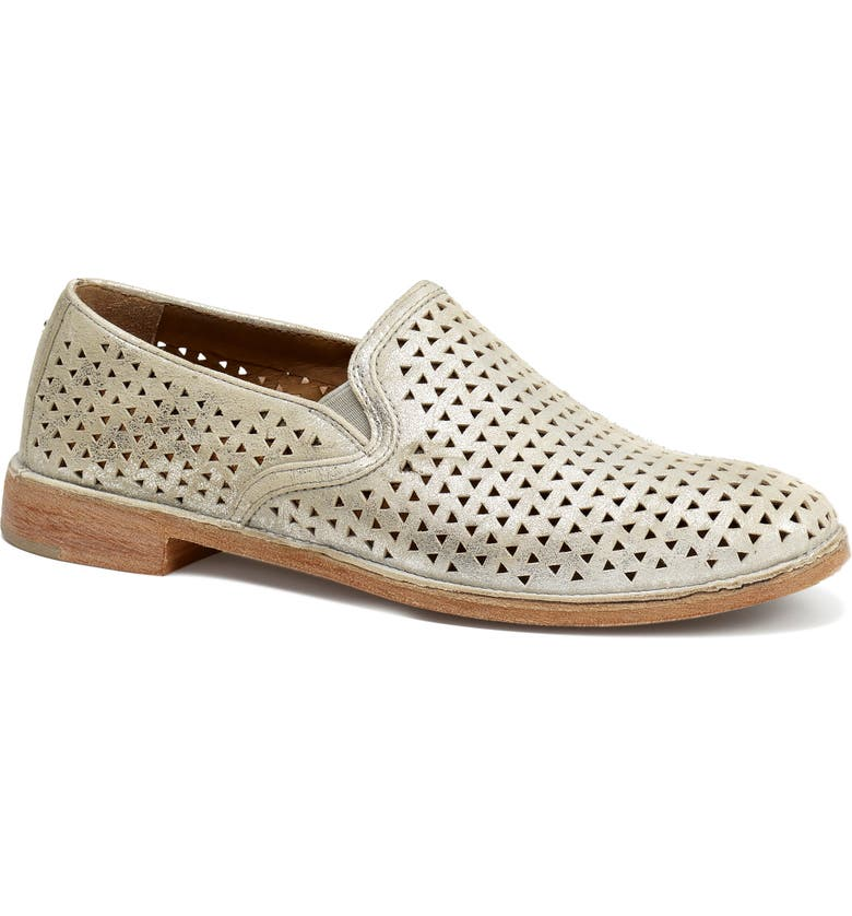 TRASK Ali Perforated Loafer, Main, color, IVORY METALLIC SUEDE