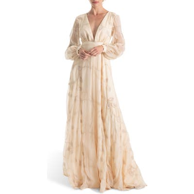 Joanna August Gwen Embroidered Long Sleeve Wedding Dress, Ivory