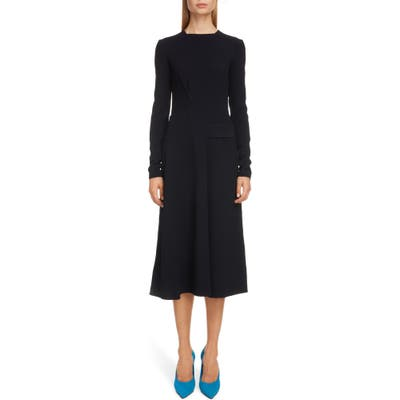 Victoria Beckham Belted Long Sleeve Midi Dress, US / 12 UK - Blue