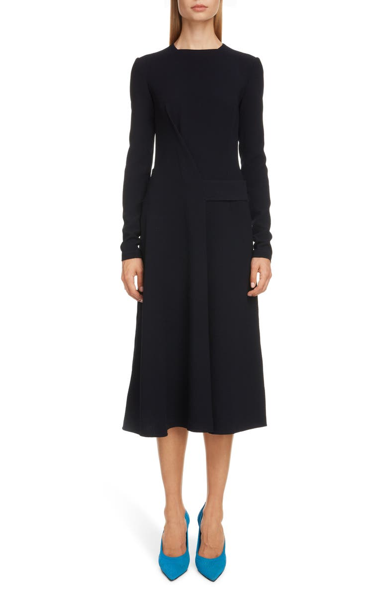 VICTORIA BECKHAM Belted Long Sleeve Midi Dress, Main, color, NAVY
